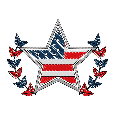 american flag in star with wreath emblem vector illustration