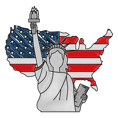 american flag in map with statue of liberty vector illustration
