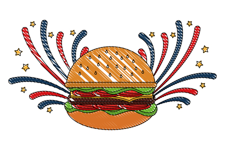 fast food hamburger and fireworks celebration vector illustration