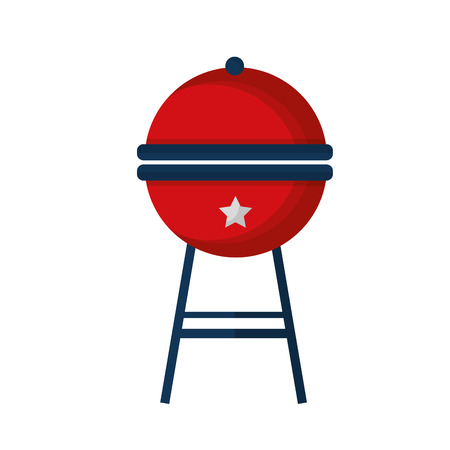 barbeque grill with USA colors vector illustration design
