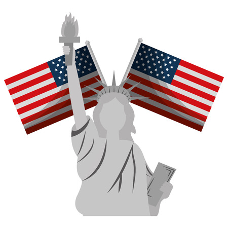 liberty statue with usa flags crossed vector illustration design Stock Vector - 102020747