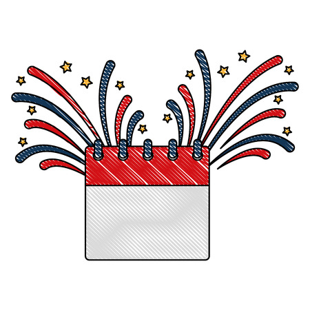 calendar and fireworks celebration independence day vector illustration