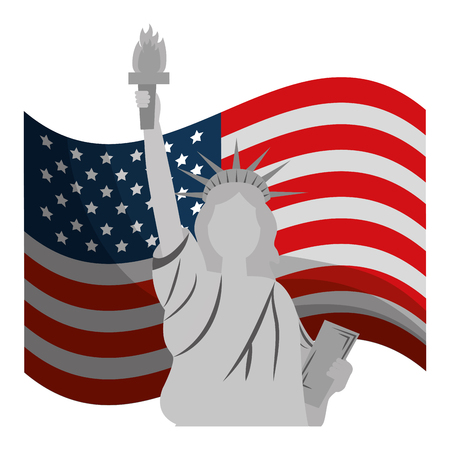 liberty statue with usa flag vector illustration design