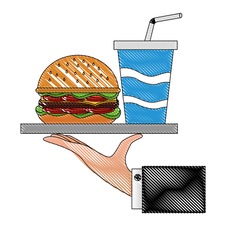 hand holding tray with burger and cola vector illustration