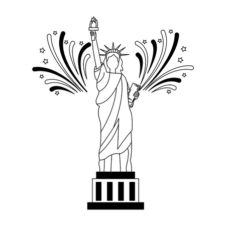 statue of libery fireworks celebrating independence day vector illustration Çizim