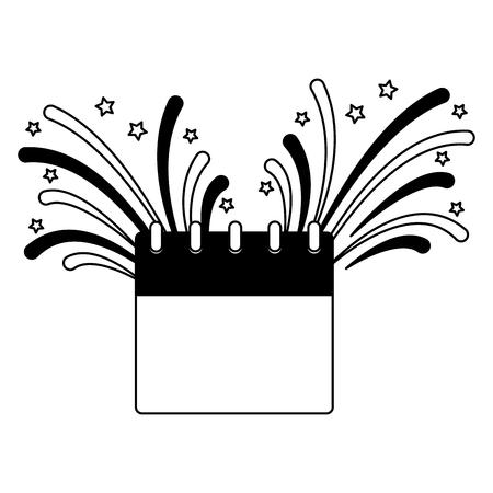 calendar and fireworks celebration independence day vector illustration