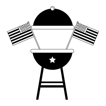 bbq grill with american flags celebration vector illustration Illustration