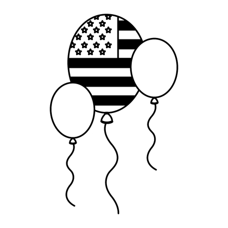 flag american in balloon decoration party vector illustration