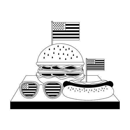 hamburger and hot dog glasses with american flag vector illustration