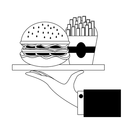 hand holding tray with burger and french fries vector illustration Illusztráció