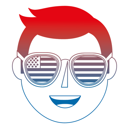 young man with USA glasses vector illustration design
