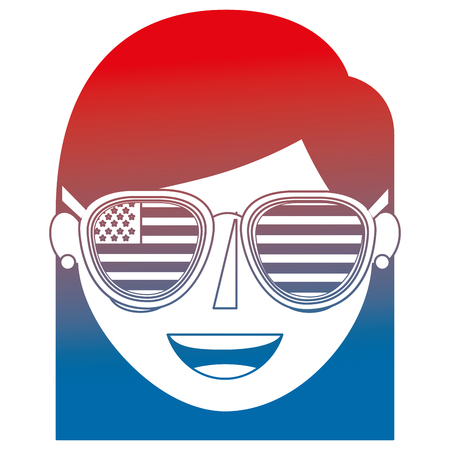 young woman with USA glasses vector illustration design Banque d'images - 101977326