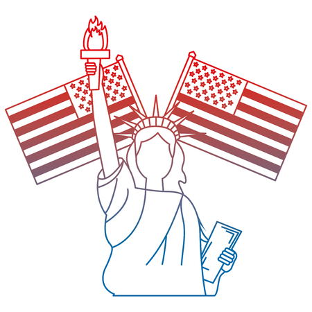 liberty statue with usa flags crossed vector illustration design Stock Vector - 101977340