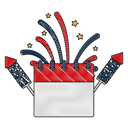 calendar and rockets fireworks celebration independence day vector illustration