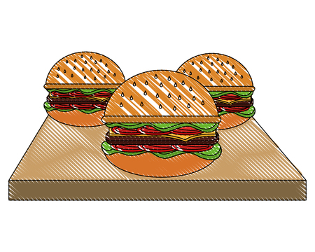three hamburgers fast food on wooden vector illustration Banco de Imagens - 102108691