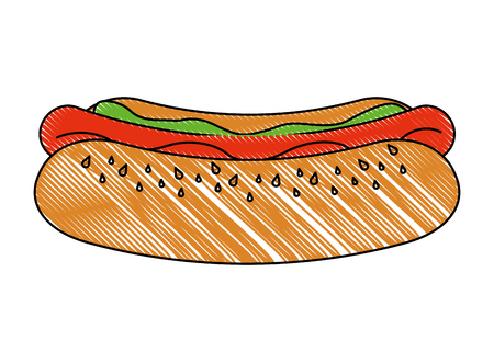 fast food unhealthy hot dog tasty vector illustration
