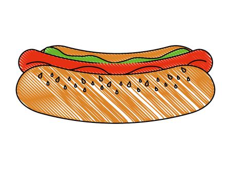 fast food unhealthy hot dog tasty vector illustration