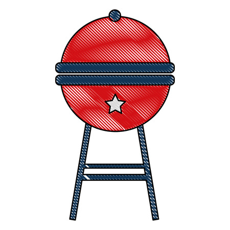 round bbq grill close image vector illustration