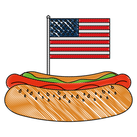 fast food hot dog and american flag vector illustration Çizim