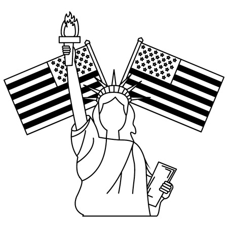 statue of liberty and crossed flag american vector illustration