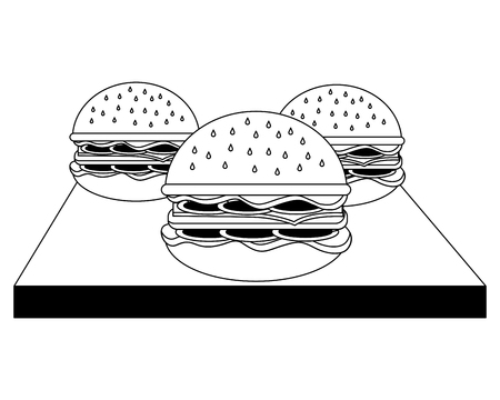 three hamburgers fast food on wooden vector illustration