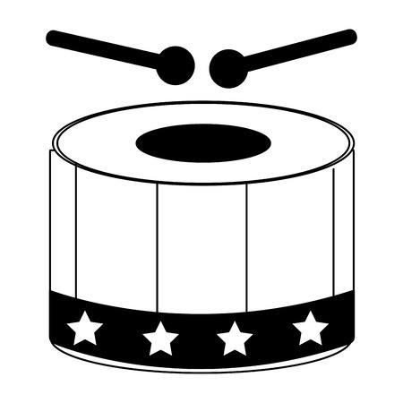 musical instrument percussion drum and sticks vector illustration