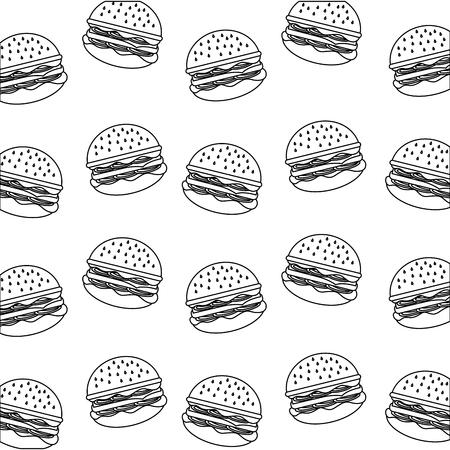 delicious fast food hamburger background vector illustration