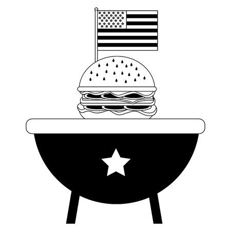 bbq grill with burger and american flag vector illustration