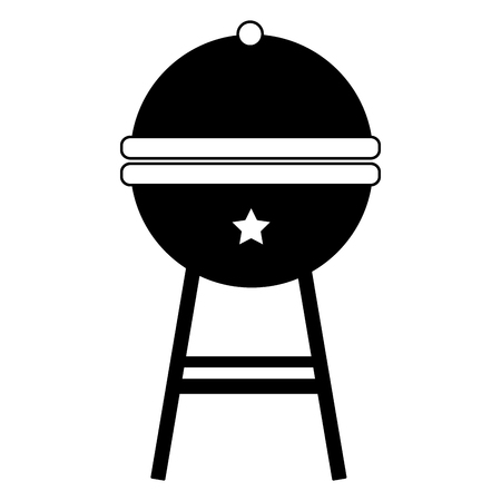 round bbq grill close image vector illustration