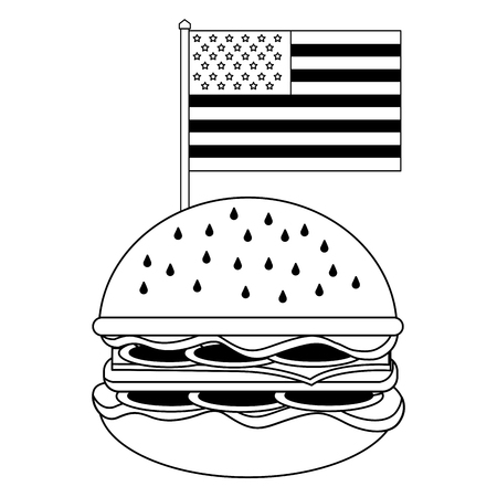 fast food burger and american flag vector illustration