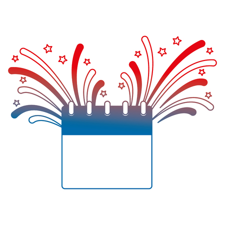 calendar with fireworks splash vector illustration design
