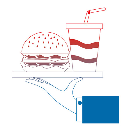 hand waiter lifting with delicious hamburger fast food vector illustration design