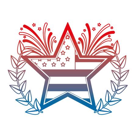 star with wreath USA and fireworks emblem vector illustration design Illustration