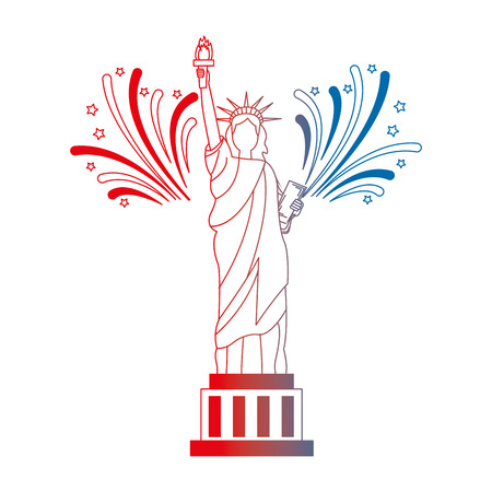 liberty statue with fireworks vector illustration design Stock Vector - 102026629