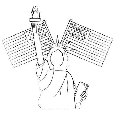 liberty statue with usa flags crossed vector illustration design Stock Vector - 102108720
