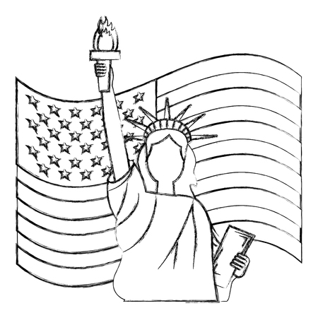 liberty statue with usa flag vector illustration design Stock Vector - 102108743