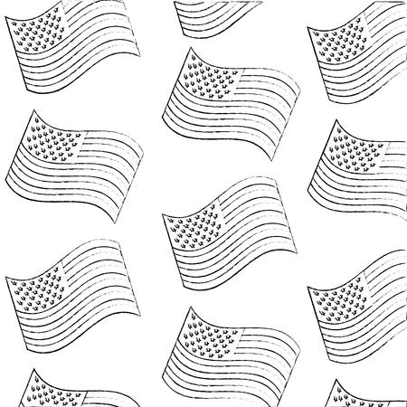 USA flags pattern background vector illustration design