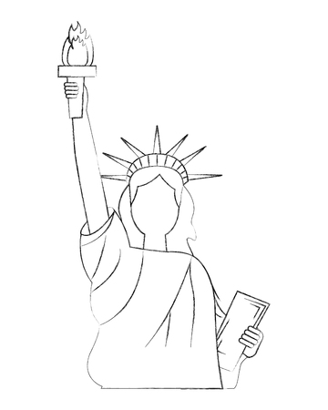 liberty statue american icon vector illustration design Çizim