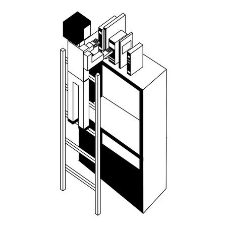 man employee in stairs putting books on bookshelf isometric vector illustration black and white Illustration