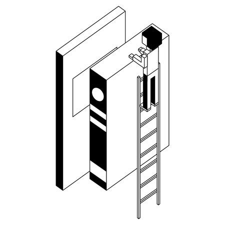 employee in stairs with books learning isometric vector illustration black and white