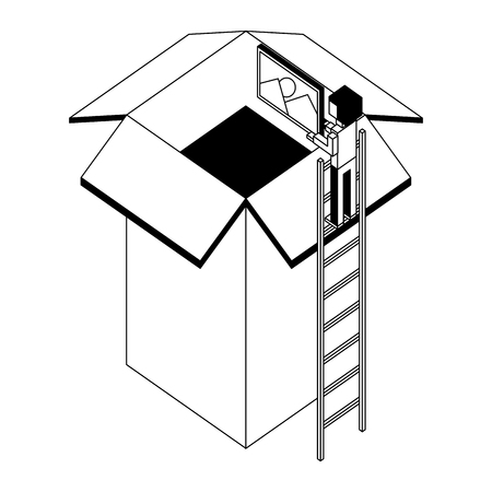 employee in stairs puts photo on cardboard box vector illustration black and white