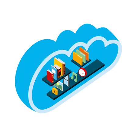 cloud storage computing books music photo file clock isometric vector illustration Иллюстрация