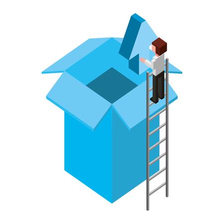 businessman holding upload arrow box storage isometric vector illustration