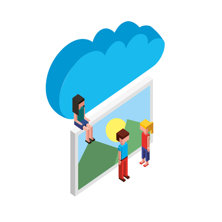 cloud storage people and photo gallery vector illustration Illustration