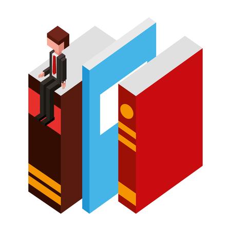 businessman sitting on books learning vector illustration