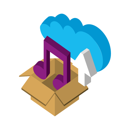 cloud storage box music and upload data isometric vector illustration Çizim