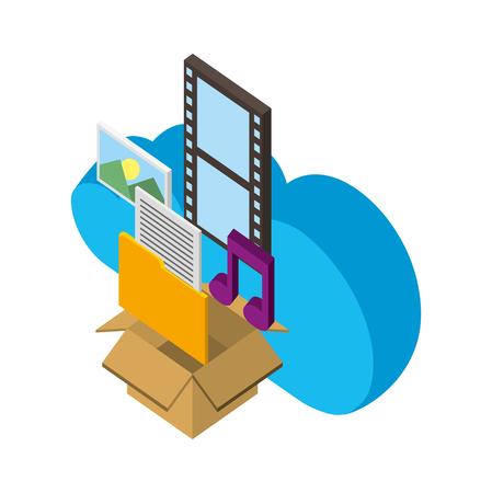 cloud storage box folder music photo social media isometric vector illustration Illustration
