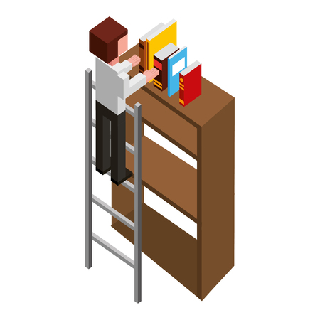 man employee in stairs putting books on bookshelf isometric vector illustration