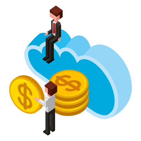 businessman man holding coins cloud storage isometric vector illustration Banque d'images - 102108820