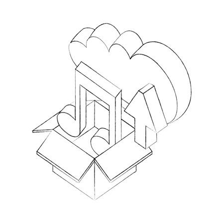 cloud storage box music and upload data isometric vector illustration sketch Çizim